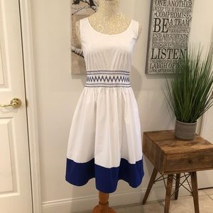 Kate Spade White Poplin Royal Blue Embroidered